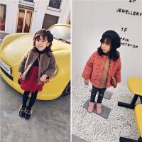 冬季新款女童毛绒外套小童宝宝加绒加厚上衣韩版洋气外套