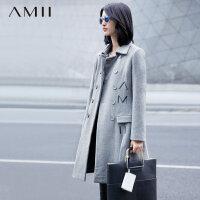 【反季毛呢特卖价:80】Amii[极简主义]冬新品双排扣翻领修身中长款毛呢外套11582219