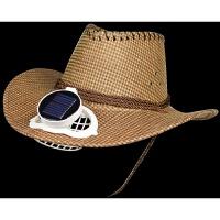 充电锂电池风力可调太阳能带风扇帽子大帽檐牛仔草帽防晒遮阳旅游