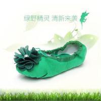 幼儿童猫爪鞋红绿芭蕾舞鞋软底花朵练功女童舞蹈鞋鞋蓝色单鞋