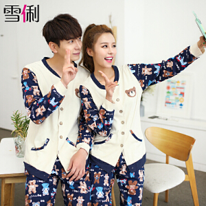 雪俐情侣睡衣秋季韩版卡通男女士可外穿睡衣家居服