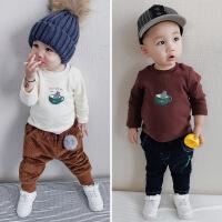 男童加绒加厚T恤冬装新款1-5岁宝宝卡通打底衫儿童纯棉长袖上衣潮