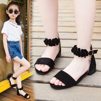 女童鞋凉鞋夏季中大童女孩小高跟公主鞋儿童凉鞋女
