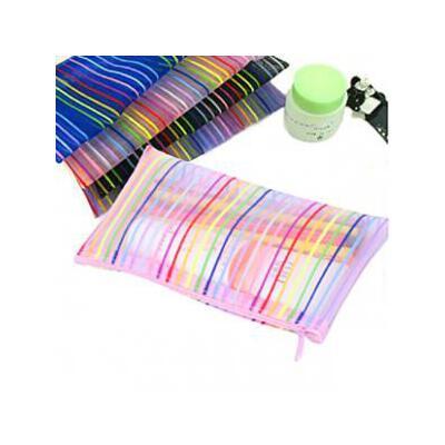 七彩线条化妆包 零钱包笔袋 实用易携带收纳袋 洗漱袋 收纳中包