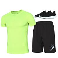 运动套装男夏季跑步健身短裤速干透气修身t恤男五分裤套装晨跑服