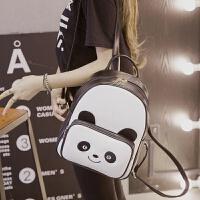 卡通双肩包女韩版新款熊猫印花可爱女包包PU皮学生休闲背包 熊猫款 黑白色