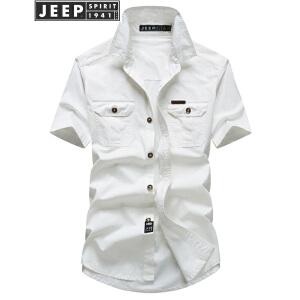 JEEP吉普男士短袖衬衫2018夏装新款工装全棉休闲衬衣男士外套简约上衣