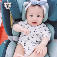婴儿连体衣服宝宝新生儿季1岁5个月款短袖三角哈衣新年