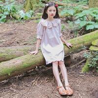 儿童夏天裙子荷叶边娃娃领中袖连衣裙韩版文艺公主女童度假沙滩裙