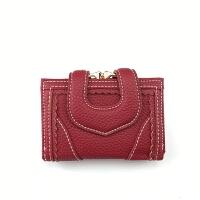 钱包女短款韩版折叠钱夹复古红色小零钱袋2018新款多功能手包