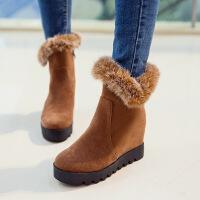 彼艾2017秋冬季新款磨砂雪地靴厚底棉靴毛毛鞋内增高短靴超高跟女鞋女靴子
