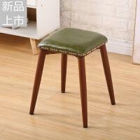 家用凳子时尚创意小板凳简约现代方凳布艺小凳子圆凳餐凳椅子定制 浅绿色皮 革铁艺红胡桃加厚