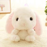 卡通儿童卖萌兔毛绒背包垂耳兔双肩包学生可爱兔子玩具书包女 白色