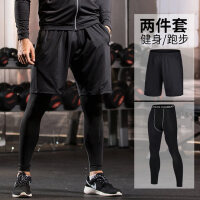 紧身裤男弹力健身裤跑步运动短裤套装训练服速干贴身篮球打底裤子