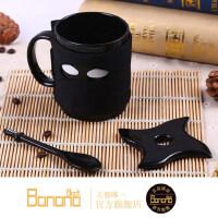 个性忍者陶瓷杯子带刀勺马克杯可爱卡通动漫创意水杯咖啡牛奶茶杯