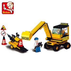 【当当自营】小鲁班模拟城市系列儿童益智拼装积木玩具 重型工程-挖土机M38-B9600