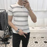 季男士短袖薄款针织衫青年韩版修身个性毛线衫百搭打底衫