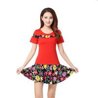 2017新款大码广场舞拉丁舞蹈服装运动服练功短袖套装跳舞女装.