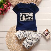 童装夏装中小童儿童短袖T恤男女童运动套装宝宝