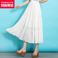 特尚莱菲 韩版女夏装新款半裙拼接百褶雪纺长裙半身裙子 WWH6125