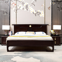 新中式实木床1.8米主卧双人床禅意铜元素色卧室实木家具 +乳胶床垫 1800mm*2000mm 框架结构