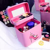 大容量化妆包小号便携手提化妆箱双层大号韩国收纳包品可爱洗漱包