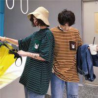情侣装夏季条纹印花情侣休闲短袖运动T恤圆领潮男女学生班服