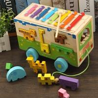 木制儿童益智动物敲琴拖拉车宝宝1-2-6形状配对2-3岁积木智力盒 红色