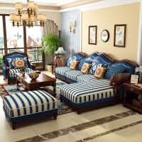 美式乡村实木沙发欧式真皮沙发组合皮布转角沙发大小户型客厅家具