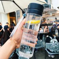 简约运动水杯大容量塑料水杯户外透明杯子带盖直身防漏旅行水壶学生水杯男女