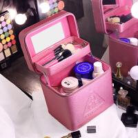 大容量韩国化妆包简约大号便携手提化妆箱化妆品收纳盒收纳包shq 珠光粉色