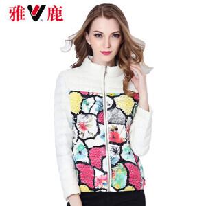 2016秋装女装 雅鹿时尚印花轻薄款外套 韩版修身短款羽绒服YR1101120