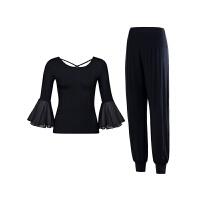 瑜伽服套装女2018新款莫代尔显瘦黑色优雅运动衣服健身服舞蹈 黑色 黑色中袖+长裤