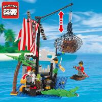 一号玩具 启蒙乐高式玩具小颗粒拼装积木拼插模型6-10岁男孩益智玩具海盗系列302