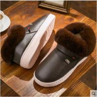男士高帮棉拖鞋男冬季毛绒新款包跟厚底室内防滑棉鞋外穿开车