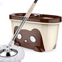 旋转拖把 手压式双驱动一体成型挡体板拖把桶免手洗加宽加厚提手镶入式皂液瓶拖熊猫桶清洁工具