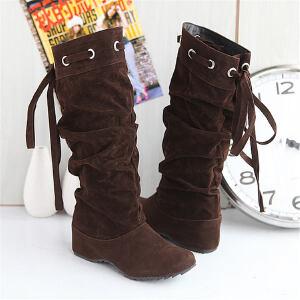 ELEISE美国艾蕾莎新品秋冬181-A-1韩版磨砂绒面内增高女士中筒靴