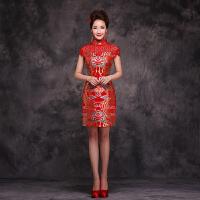 婚纱礼服新款2016韩版高腰短款孕妇红色结婚礼服敬酒服晚装旗袍女