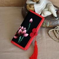 手绘帆布钱包中国风盘扣女士钱包旗袍配包汉服包包过年送