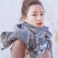 英伦风学生双面韩版百搭针织保暖加厚经典格子围巾女