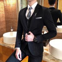 青年商务绅士细格子免烫西服马甲西裤三件套装修身婚礼服男士新郎
