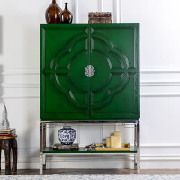 新中式家具 柯诺绿色亮漆对开门卧室衣柜/客厅厅柜