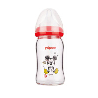 贝亲Disney宽口径玻璃奶瓶160ml配SS奶嘴(米奇宝宝Pigeon时尚)
