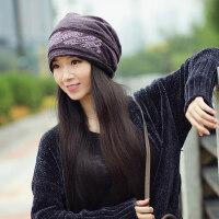 帽子女韩版潮百搭 潮流加绒头巾包头帽亮片针织帽