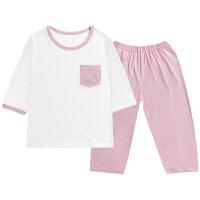 夏季男童女童中袖薄款空调服套装宝宝小孩中大童