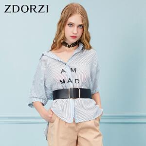 卓多姿ZDORZI女装上衣2018夏新品个性字母印花衬衣736E527