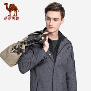 骆驼男装 2018秋冬新款青年纯色立领假两件外套韩版休闲风衣男