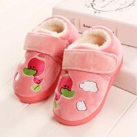 男宝宝1-2-3岁婴幼毛毛棉拖鞋小孩冬天包跟学步鞋小童女童男