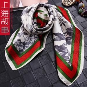 上海故事春秋女百变蚕桑丝丝巾职业小方巾领巾百搭印花围巾围脖