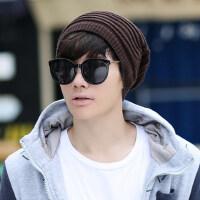 男士针织帽毛线帽子套头帽保暖帽护耳帽包头帽两用围脖帽